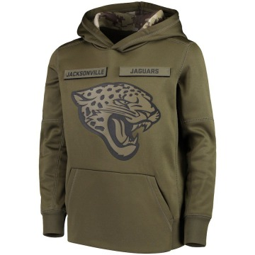 Jacksonville Jaguars Youth Green 2018 Salute to Service Pullover Performance Hoodie
