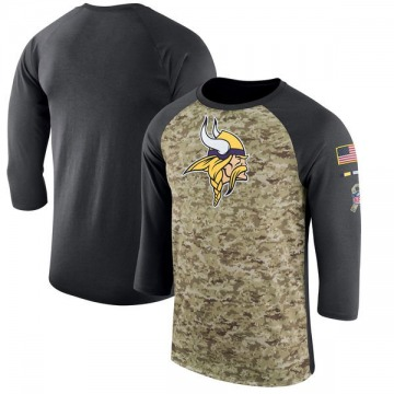 Minnesota Vikings Men's Camo Legend /Anthracite Salute to Service 2017 Sideline Performance Three-Quarter Sleeve T-Shirt
